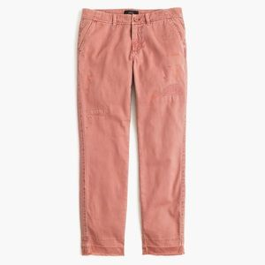 J. Crew pink distressed boyfriend chino pants